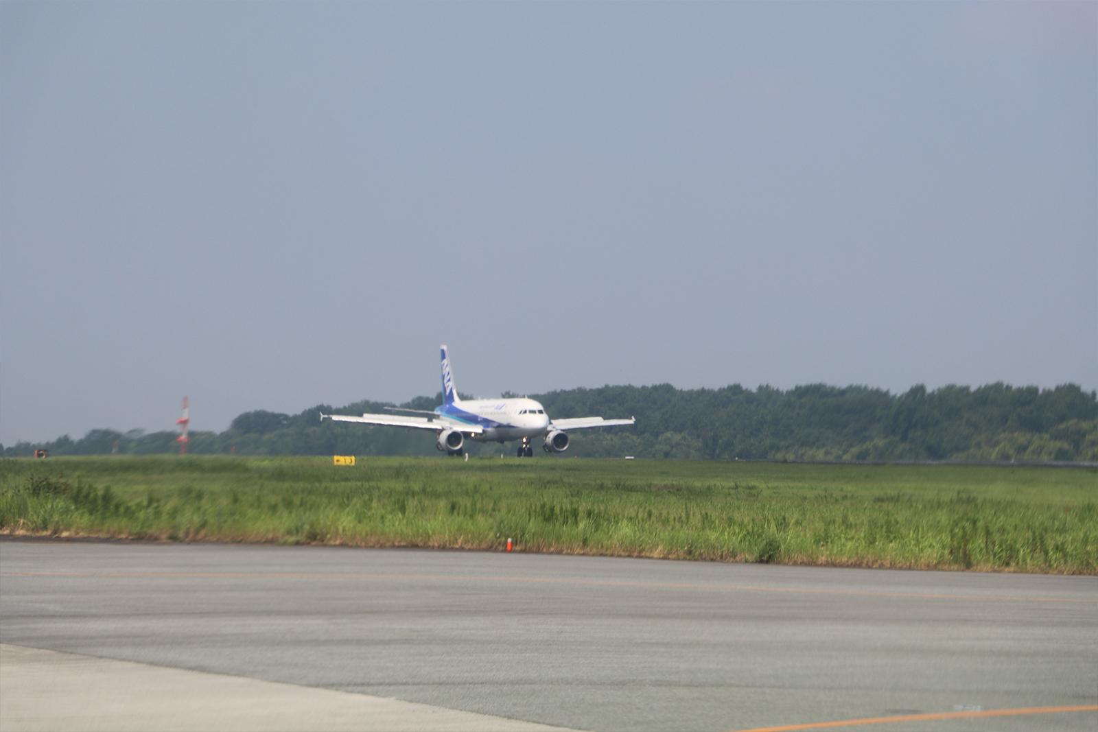 滑走路にジェット機が着陸